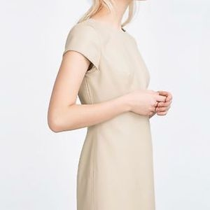 Zara Trafaluc vegan leather mini shift dress